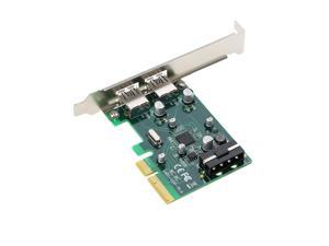 PCI-E to 2-Port USB3.1 Type A PCI Express Expansion Card USB 3.1 Hub Controller Adapter Superspeed 10 Gbps with Big 4Pin Power Connector and Asmedia Chipset