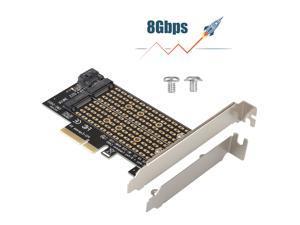 M.2 NGFF to Desktop PCIe x4 x8 x16 NVMe SATA Dual SSD PCI Express Adapter Card