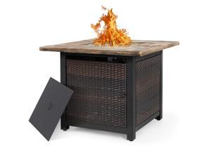 Nuu Garden 34 Inch Wicker Steel Frame Propane Gas Fire Pit Table, Outdoor 50,000 BTU Auto-Ignition Fire Pit with Glass Rocks and Tale Lid, MGO Tabletop - Brown