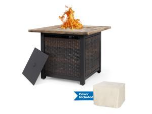 Nuu Garden 34 Inch Wicker Steel Frame Propane Gas Fire Pit Table with PVC Waterproof Cover Outdoor 50,000 BTU Auto-Ignition Fire Pit with Glass Rocks and Tale Lid, MGO Tabletop - Brown