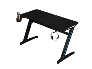 TROPRO Large Gaming Desk 55 Inch Computer Gaming Desk E-Sports Racing Table with with Cup Holder, Headphone Hook for Home Office, Black