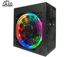Power Supply RGB Series 650W Continuous Power  No-Modular 80+ Certified ATX 12V 2.3/EPS 12V Active PFC Power Supply with 120mm  Quiet Auto Speed Control Fan,6 protection functions