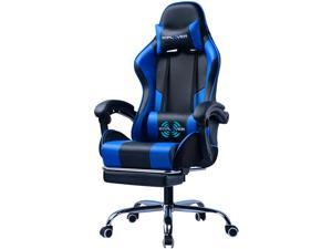 GTPLAYER Gaming Chair with Footrest Ergonomic Massage Office Chair for Adults Adjustable Swivel Leather Computer Chair High Back Desk Chair with Headrest and Massager Lumbar Support, Blue