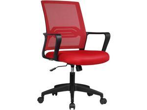GTPLAYER Office Chair Ergonomic Desk Chair Mesh Computer Chair Mid Back Mesh Home Office Swivel Chair, Modern Executive Chair with Armrests Lumbar Support (Red)