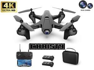Christy C230 FPV GPS Foldable Drone with 4K HD Dual Camera,Brushless Motor,Follow Me,40 Minutes Flight Time,One Key Return,WiFi Transmission,UAV aerial photography 4K HD professi,Give away a battery