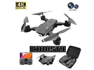Christy C189 Foldable Drone with 4K Dual Camera,,Auto Return Home, Follow Me, Gravity sensing,Stunt roll,VR experience,50 Minutes Flight Time,UAV aerial photography 4K HD professi,Give away a battery