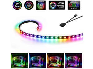 19.7in / 50cm Addressable RGB LED Strip, Magnetic Computer Lights for PC Case, 5V 3 Pin Header Dream Color ARGB Strip for ASUS Aura SYNC/MSI Mystic Sync/ASROCK Aura RGB/GIGABYTE RGB Fusion