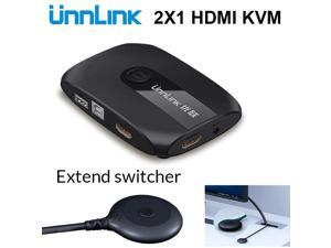 2 Ports HDMI KVM Switch with Extender 4K 1080P USB2.0 Sharing Monitor Printer Keyboard Mouse for 2 computers laptops ps4