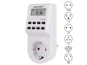 110/220V AC Programmable Timers Weekly Programmable Electrical Power Socket Timer Switch EU UK US FR  Plug standard with Clock
