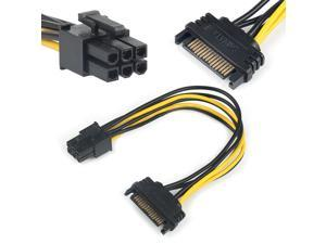 15pin SATA Male To 6pin PCI-E Power Supply Cable 20cm SATA Cable 15-pin To 8 Pin Cable Wire For Graphic Card Adapter Cables