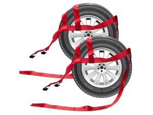 2pcs Car Basket Straps Adjustable Tow Dolly Wheel Net Set Flat Hook RED Car Strap for Wheel Binding Rope Car Accessories
