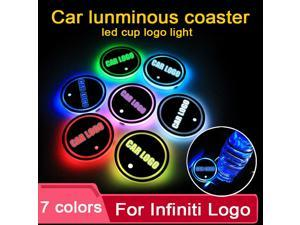 2PCS Led Car Cup Holder Coaster For Infiniti logo Light For q50 fx35 g35 qx70 fx q30 qx30 ex35 q70 qx80 Accessories