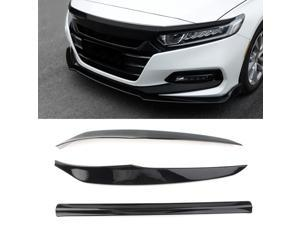 Black Car Front Lip Bumper Protector Trim Cover 3Pcs For Honda Accord 10th 2018 2019 ABS Plastic
