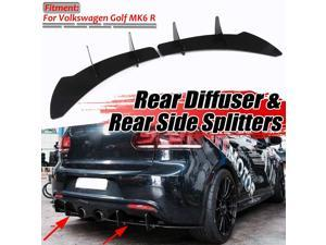 R Car Rear Bumper Diffuser Lip & Rear Side Splitters Spoiler Guard Diffuser Balck For VW For Volkswagen For Golf  R ABS