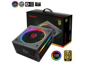 Fully Modular Gold Certified 80+ PSU Rated 850W Computer Power Supply Ultra Silent Fan Overload Protection PC Power Supplies with Colorful RGB Light Controller for Game Gaming PC Desktop Power