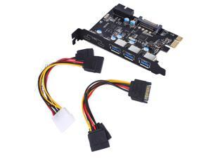 Super Speed PCI-E to USB 3.0 with 5 USB 3.0 Ports & Type A/C SATA PCI Express Expansion Card PCIe Host Card Support PCIE 1X 4X 8X 16X PCI-E HUB Controller Adapter Card