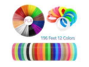 3D Pen Filament,Set of 12 Colors 196 feet for 3D Printer Filament 1.75mm PLA