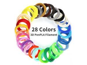 28Colors PLA 3D Printing Pen Filament Refill, Each Color 10 Feet, Total 280 Feet, Extra Gift with 2 Finger Caps by