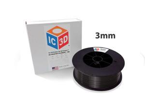 Black 3mm ABS 3D Printer Filament - 2.5kg Spool - Dimensional Accuracy +/- 0.05mm - Professional Grade 3D Printing Filament - Made in USA