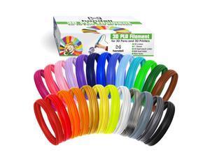 3d Pen Filament Refills - PLA filament 1.75mm | 25 Colors, 20 Solid Colors + 5 Fluorescent / Transparent, 33ft Each, 825 Feet Total