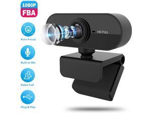 1080P HD Webcam Camera with Microphone, Best Widescreen Camera for PC Mac Laptop Desktop (Black)