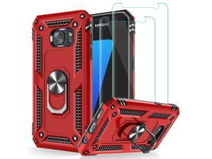 Galaxy S7 Case, Galaxy S7 Phone Case with Tempered Glass Screen Protector [2 Pack], Military Grade Protective Phone Case with Ring Car Mount Kickstand Cover for Samsung Galaxy S7 Red