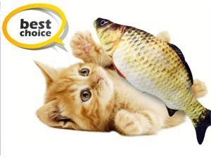 AUNPFETLE Electric Cat Fish Toys,Bionic Fish Design, Soft& Comfortable Fabric, Grey Color Carp Lifelike and Funny, Automatically Sense Touch or Swing, Removable Velcro Fastener Opening, USB Cable char