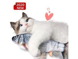 Fish Cat Toy, Electric Moving Fish, Flopping Fish Cat Toy ,Realistic Plush Rocking And Bouncing Fish , Lifelike Interactive Fish Toys, Organically-grown Catnip Toy,A Source of Fun for Children.Grey
