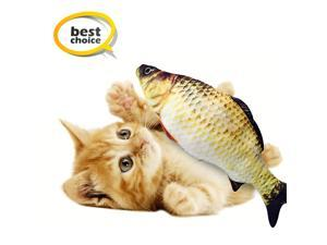 Fish Cat Toy, Electric Moving Fish, Flopping Fish Cat Toy ,Realistic Plush Rocking And Bouncing Fish , Lifelike Interactive Fish Toys, Organically-grown Catnip Toy,A Source of Fun for Children.Golden