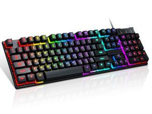 RGB Mechanical Gaming Keyboard,USB Wired LED Backlight Anti-ghosting RGB Keyboard, 104 keys ,Water Resistant,for Windows PC Laptop game