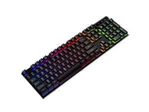 RGB Mechanical Gaming Keyboard, USB Wired LED Backlight Anti-ghosting, Mechanical Feel RGB Keyboard, 104 Keys, Waterproof and Dustproof, Suitable for Windows PC Laptop Games