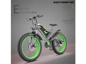 """AOSTIRMOTOR Electric Bike,26"""" 4.0 inch Electric Fat Tire Ebike, 750W Motor Mountain Bike 48V 15AH Removable Lithium Battery, Electric Bicycle for Adults,6061 Aluminum Alloy Frame,S18-PRO20-GREEN"""