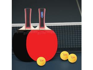 Table Tennis 2 Player Set 2 Table Tennis Bats Rackets with 3 Ping Pong Balls for Students Beginners