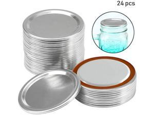 24 pack Canning Lids Regular Mouth Mason Jar Split-Type Lids with Silicone Seals Rings Mason Storage Metal Caps