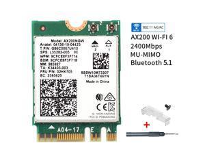 Intel AX200 WiFi 6 NGFF M.2 WiFi Card AX200NGW Network Card Wi-Fi Bluetooth 5.1 802.11ac/ax Dual Band 2.4Ghz/5Ghz Wireless Adapter MU-MIMO For PC Laptop Windows 10 64bit