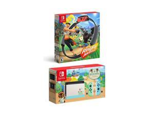 New Nintendo Switch Animal Crossing: New Horizons Edition Bundle with Ring Fit Adventure Set: Game, Ring-Con and Leg Strap - Limited Console & Best Fitness Game!