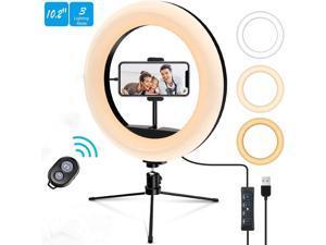 "Ring Light, 10.2"" LED Ring Light Tripod Photo Vide Lighting Kit, Adjustable 3000K-6500K, Light Stand, wireless remote,11 Levels of Brightness for Live Streaming Portrait YouTube Video, Vlog, Makeup"