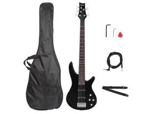 Glarry GIB Electric 5 String Bass Guitar Full Size Bag Strap Pick Connector Wrench Tool Black