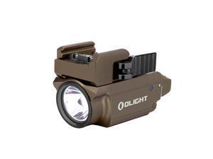 OLIGHT Baldr Mini 600 Lumens Green Laser Rail Mounted  Magnetic USB Rechargeable Pistol Tactical Light Weaponlight Flashlight with Adjustable Rail Desert Tan