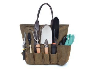 Canvas Garden Tool Tote Bag, Heavy-Duty Gardening Pouch, Vegetable Herb Garden Hand Tool Storage Tote, with 8 Pockets and Leather Handle, Floral Gardening Gift, Tools Not Included