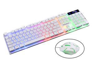 Hilinston Wired Professional Gaming Keyboard and Mouse Set Floating Buttons Gaming Light Multifunctional Gaming Keyboard and Mouse,White,GK05