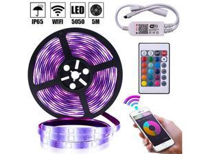 LED Strip Lights 16.4FT/5M Smart Led Lights 5050 RGB Led Light Strip Color Changing Hilinston Led Strips with Bluetooth Controller Sync to Music Apply for TV Bedroom,Kitchen,Party,Bar and Home,RL07