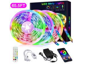 65.6FT/20M RGB LED Strip Lights Music Sync Color Changing RGB LED Strip Built-in Mic, Bluetooth Controlled LED Lights Rope Lights Hilinston RGB LED Light Strip APP Remote,White,RL14