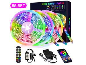 65.6FT/20M RGB LED Strip Lights Music Sync Color Changing RGB LED Strip Built-in Mic, Bluetooth Controlled LED Lights Rope Lights Hilinston RGB LED Light Strip APP Remote,Black,RL13