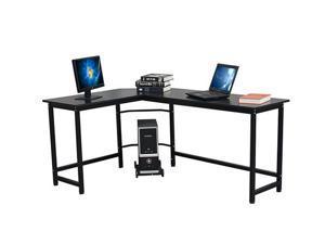 HILINSTON L-Shaped Desk Corner Computer Gaming Laptop Table PC Table Study Desk Workstation Home Office,Black,GT07