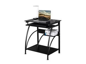 Computer Table Desk Game Table 4 Floor Toughened Glass Surface with Keyboard Drawer Chassis Rack,Black,GT09