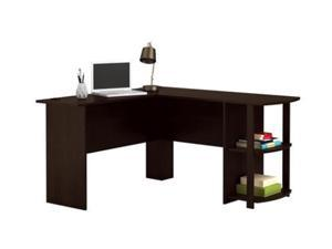 L-Shaped Wood Computer table Game Table Desk Right-angle Computer Desk with Two-layer Bookshelves,Brown,GT12