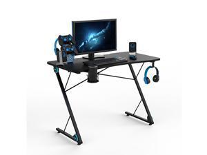 Z-Shaped Gaming Desk, Professional E-Sport Gamer Workstation with LED Lights & Large Carbon Fiber Surface, Hilinston Ergonomic PC Gaming Table for Home Office,GT16