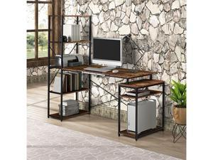 Home office Gaming Computer Desk with 5-Tier Bookshelf and 2 open Storage Shelf,Multi-Function Drafting Drawing Table with Tiltable Desktop,GT43
