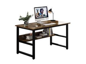 Computer Desk Home Office Desk Gaming Desk Large A Multi- Purpose in One Design Computer Desk Corner Writing Simple Style PC Wood and Metal Desk Workstation,Wood Color,GT49